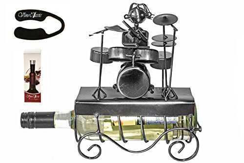 Drummer on the Top Metal Wine Bottle Holder Plus Wine Foil Cutter and Wine Bottle Vacuum Stopper