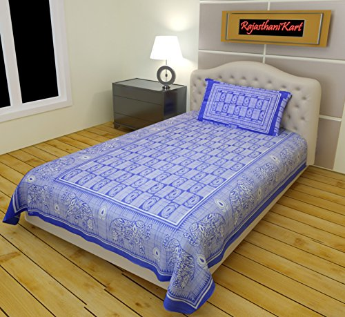 RajasthaniKart 100% Cotton Single Bedsheet and a Pillow Covers