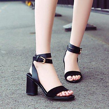 LvYuan zapatos del club de las sandalias del verano del resorte de las mujeres del partido piel de vaca&vestido de noche Black