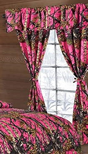20 Lakes Woodland Hunter Camo Valance, Panels, & Tie Backs Curtain Drape Set Five Pieces (Bright Pink) Camouflage Drapes