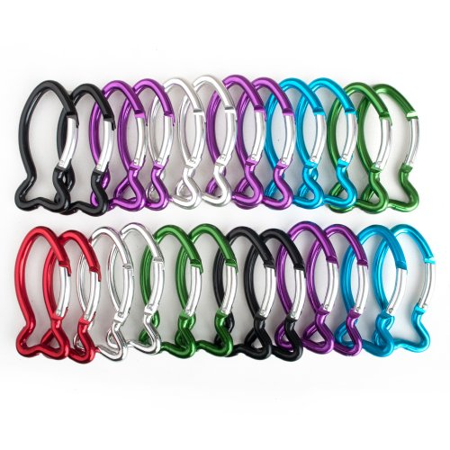GOGO 120 PCS Aluminum Fish Shape Carabiners Assorted Colors, Church Gift by GOGO