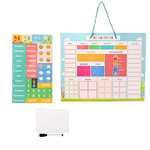 My First Daily Magnetic Calendar | Weather Station for Kids | Moods and Emotions | Usable on Wall or Fridge | Bonus Dry Erase Board and (Christian Light Education Math 2)