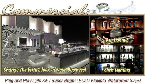 Biltek 2' ft Warm White Store Sign Retail Counter On/Off Switch LED Strip Lighting SMD3528 Wall Plug New - Storefront Windows Glass Displays DJ Bar/Night Clubs Restaurants Hotels Waterproof 220V