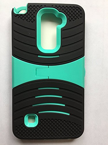 Phone Case for Straight Talk LG Rebel 4g LTE (Tracfone) / LG Optimus Zone 3 4G LTE / LG K4 4g LTE (Verizon Wireless)/ LG Spree ( Cricket Wireless ) Rugged Heavy Duty Armo Cover Black Teal Stand