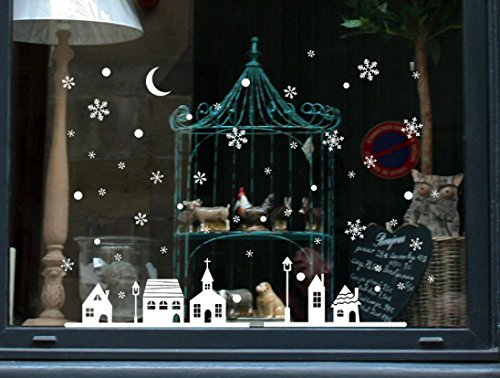 Christmas Wall Stickers, Boomboom Christmas Shop Windows Decoration Snowflakes Town Windows Wall Stickers ()