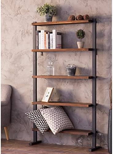 MyGift 5-Shelf Industrial Metal Wood Bookcase Decorative Home Shelving Unit for Display Storage and Organization, Dark Brown