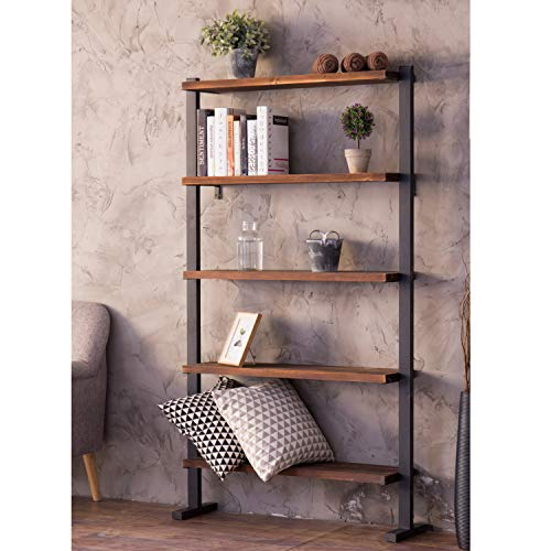 Black Metal Shelves with Choice of 3 4 or 5 Wooden Shelves Storage Bookcase