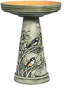 Amazon.com: Burley Clay Chickadee Bird Bath Set: Garden