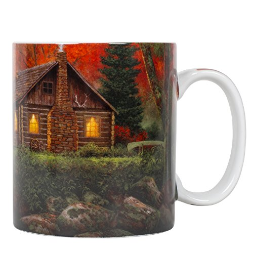 Weekend Retreat Cabin 16 ounce Porcelain Stoneware Nature Scene Coffee ()