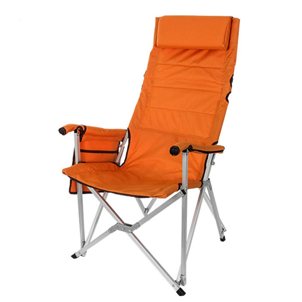 Outdoor Folding Chair Portable Oxford Cloth Fishing Chair Aluminum backrest Fishing Chair Wild Multi-Purpose Lunch Break Recliner-Orange