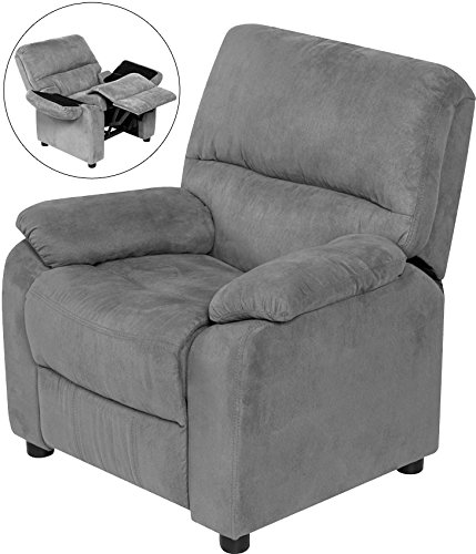 Relaxzen 60-7101KU04 Youth Recliner with Storage Arms and Dual USB, Gray by Relaxzen