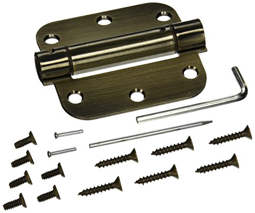 Deltana DSH35R55 Single Action Steel 3 1/2-Inch x 3 1/2-Inch x 5/8-Inch Spring Hinge (Pin Brass Antique Hinge)
