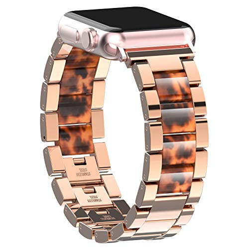 TOYOUTHS Metal Strap Compatible with Apple Watch Band 42mm 44mm Premium Stainless Steel Resin Wristbands Replacement for iWatch Series 4 3 2 1 Bracelet Accessories for Women Copper Rose Gold+Tortoise