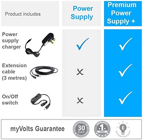 MyVolts UK power lead 9V plug compatible with Line 6 Effects pedal M13 Premium