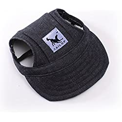 Happy Hours - Dog Pet Cat Canvas Oxford Fabric Hat Sports Baseball Cap Ear Holes Sunhat With Adjustable Neck Elastic Leather Rope Strap 6 Colors 2 Sizes Available (Black, Size S)