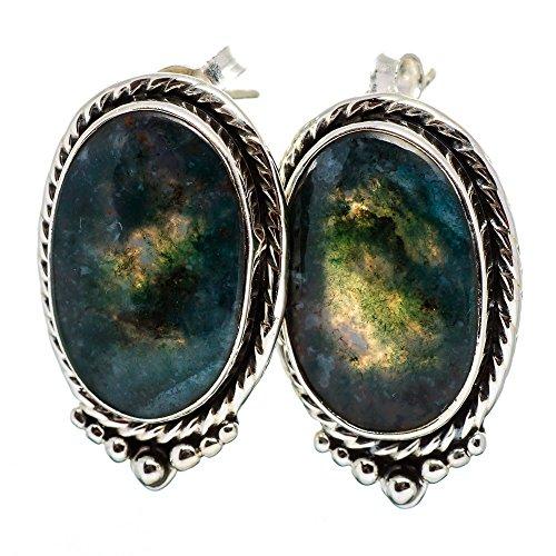 Green Moss Agate Earrings 1
