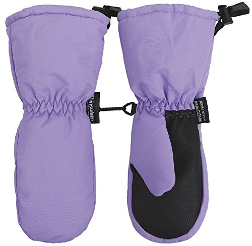 Halconia Kid Girls Thinsulate Insulation Waterproof Ski Gloves Mittens,Light Purple,M