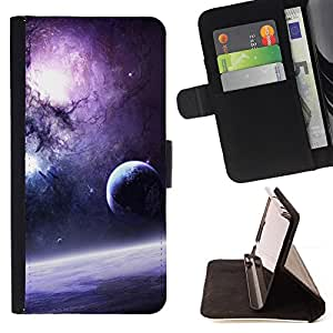 For Lumia 530 Galaxy Purple Sun Stars Moon Planets Dust Space Style PU Leather Case Wallet Flip Stand Flap Closure Cover