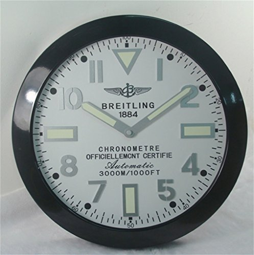 Breitling Luminous Silent Sweep Wall Clock Black White