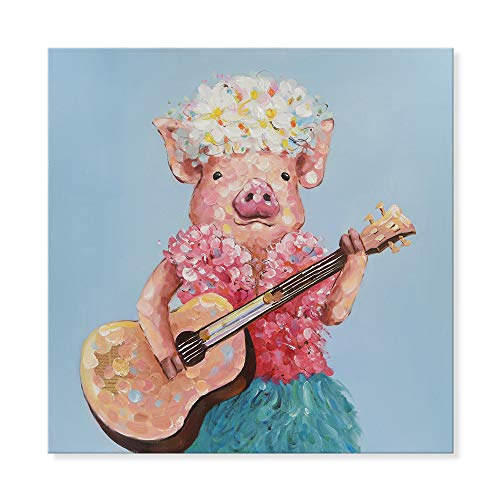 SEVEN WALL ARTS--Modern Animal Cute Pig Artwork Hawaiian Pig Plays Guitar Oil Painting for Living Room Bedroom Kids Room Ready to Hang 32 x 32 Inch (Hawaiian Living Room)