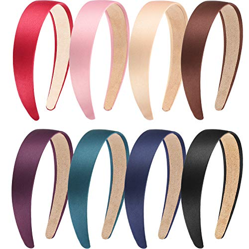 Blulu 8 Pieces Satin Headbands Anti-slip Ribbon Hair Bands for Women Girls Favors, 1 Inch Wide (Color Set 2) ()
