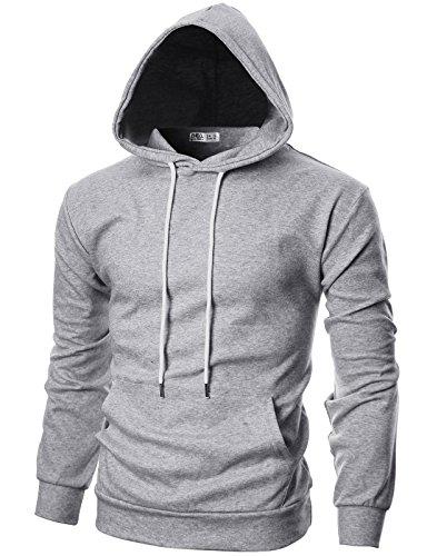 OHOO Mens Slim Fit Long Sleeve Lightweight Hoodie with Kanga Pocket/DCF010-GREY-XS