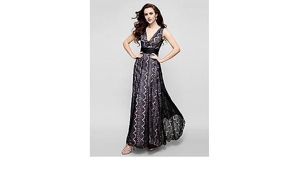 HY&OB Vaina/Columna V-Cuello Largo Tobillo Lace Prom Noche Formal Lazo Negro Vestido De Gala con Puntilla,Rojo,US 12/16 / 42 La UE Reino Unido: Amazon.es: ...