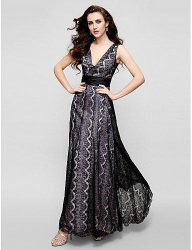 HY&OB Vaina/Columna V-Cuello Largo Tobillo Lace Prom Noche Formal Lazo Negro Vestido