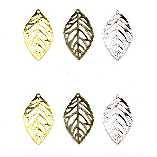 - Monrocco 180 Pieces Metal Hollow Leaf Charms Vintage Hollow Filigree Leaf Charms Tree Leaves Jewellery Making 35 x 20 mm