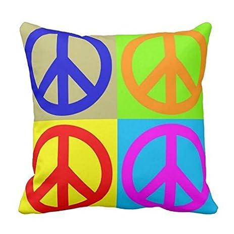 Amazon Pop Art Peace Sign Symbol Polyester Throw Pillow Case