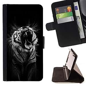 BullDog Case - FOR/Sony Xperia Z3 D6603 / - / tiger black roar yawn sleepy big cat /- Monedero de cuero de la PU Llevar cubierta de la caja con el ID Credit Card Slots Flip funda de cuer