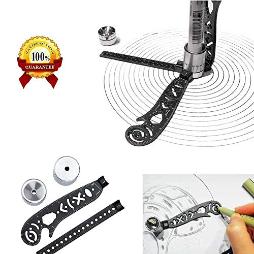 GRAWILLE Magcon Compass Protractor Tool Multi-Function Drawing Ruler Versatile Portable Design Tool Straight and Curved Metallic Ruler for Notepad Designers Artists Architects Student