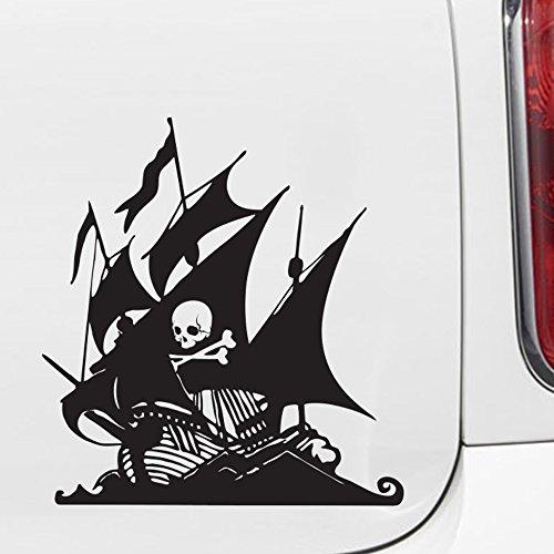 Yadda-Yadda Design Co. Pirate Ship with Skull and Crossbones - Car Vinyl Decal Sticker - (6.5