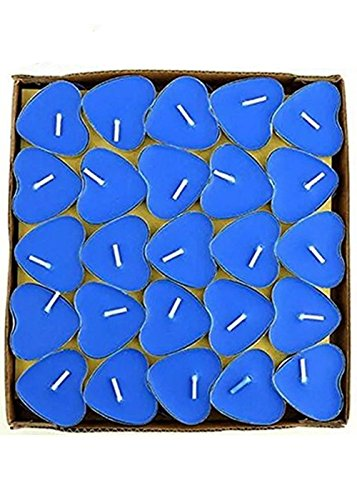 (Yalulu 50Pcs Heart Shaped Smokeless Candles, Romantic Love Candle Floating Tealights Candle for Wedding, Birthday, Party, Festival (Blue) )
