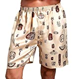 Jmwss QD Men's Satin Boxers Silk Sleepwear Underwear Printed Fashion Lounge Shorts 6 L