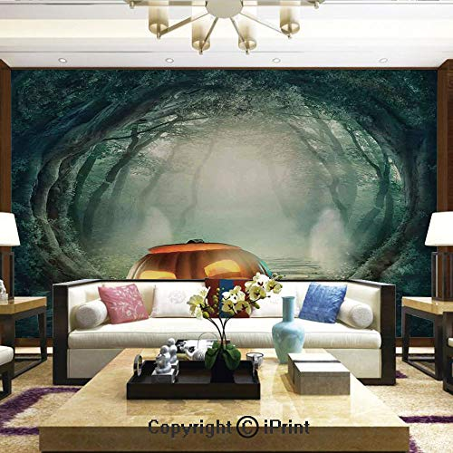 Lionpapa_mural Wall Mural Showing All They Beauty Extremely Detailed Image, Scary Halloween Pumpkin Enchanted Forest Mystic Twilight Party Art,Home Decor - 66x96 inches]()