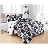 GrandLinen 3 - Piece Kids Twin Size Soccer (Football) Sports Theme Comforter Set with Plush Toy Included-Black, White and Grey Plaid. Boys, Girls, Guest Room and School Dormitory Bedding