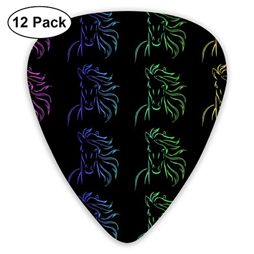 Horse Bold Vintage Art 351 Shape Classic Celluloid Guitar Pick For Electric Acoustic Mandolin Bass (12 Count)