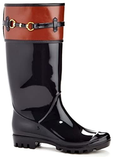 b8138a7df5a Amazon.com | Henry Ferrera Women's Opera Soft Rubber Rainboot & Gardenboot  with Removable Insole, Cognac on Shiny Black, 9 B(M) US | Boots