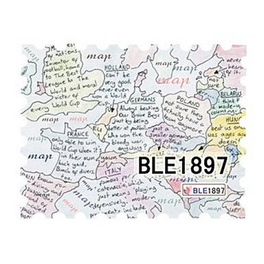 QINF 5PCS Latest Water Transfer Printing Stamp Handwritten Map Nail Art Stickers BLE Sery No.1897 - 1897 Map