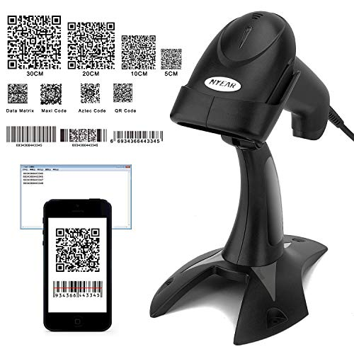 TYEARS Wireless Barcode Scanner,with bluetooth4.0 for 1D 2D QR Code,Compatible for andriod, iOS & Windows,Work with iPhone,Tablet and pc (Wired+Stand+2D)