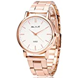 Souarts Rose Gold Color Steel Band White Rome Numbers Dial Quartz Analog Wrist Watch 24cm