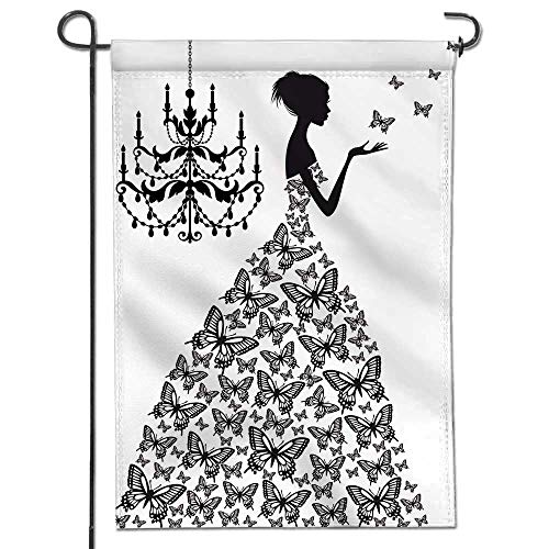 Jiahonghome Welcome Garden Flag Fashion Girl Silhouette in Wedding Dress for Your Design Holiday Decoration Double Sided Flag12 x ()
