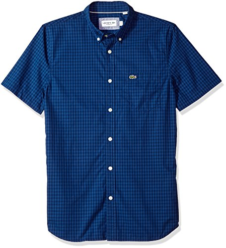 Lacoste Mens Short Sleeve with Pocket Gingham Poplin Regular Fit Woven Shirt, CH9608