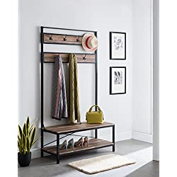 None Weathered Oak Entryway Shoe Bench with Coat Rack Hall Tree Storage Organizer 7 Hooks in Black Metal Finish