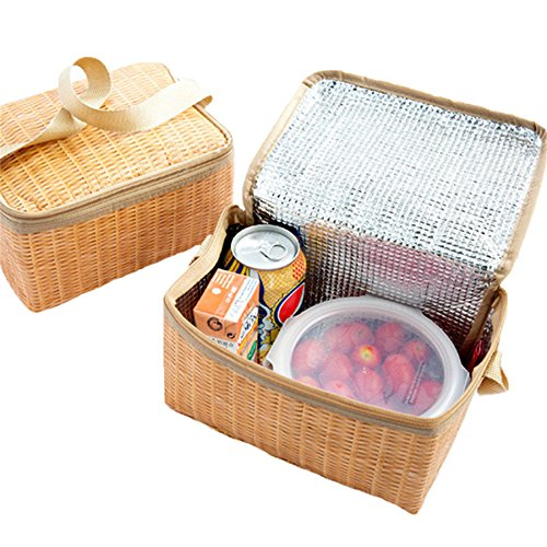 12fc63267b59 Amazon.com: Portable Imitation Rattan Lunch bag Thicker insulated ...