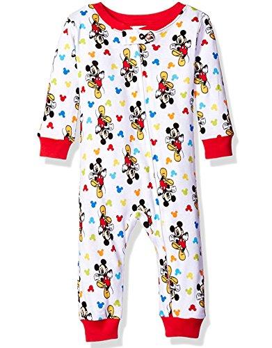 Mickey Mouse Boys Sleeper Pajamas (12 Months, Mickey White)