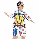 WLM Summer fashion female irregular color English letter printing T-shirt skirt,White,one size