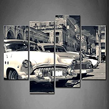 first wall art 4 panel wall art black and white panoramic view of shabby old havana street with vintage classic american cars painting pictures print on