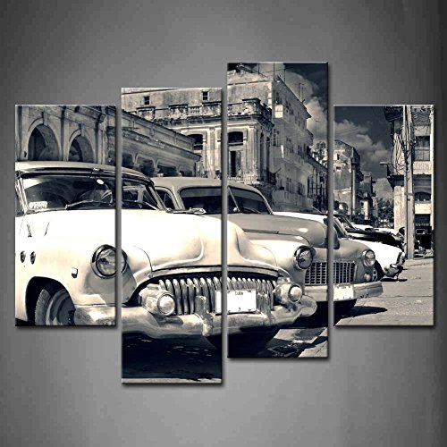 First Wall Art - 4 Panel Wall Art Black And White Panoramic View Of Shabby Old Havana Street With Vintage Classic American Cars Painting Pictures Print On Canvas Car The ()